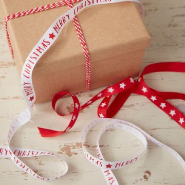 Red & White Christmas Wrapping Ribbon - 15M